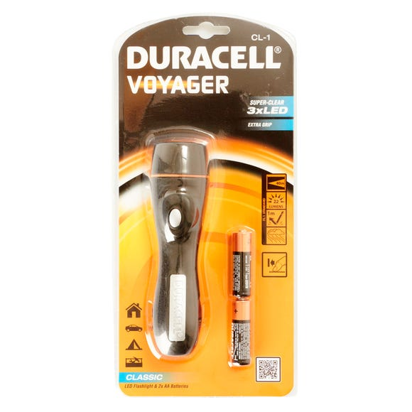 Duracell LED Torch With 2 AA Batteries Black undefined