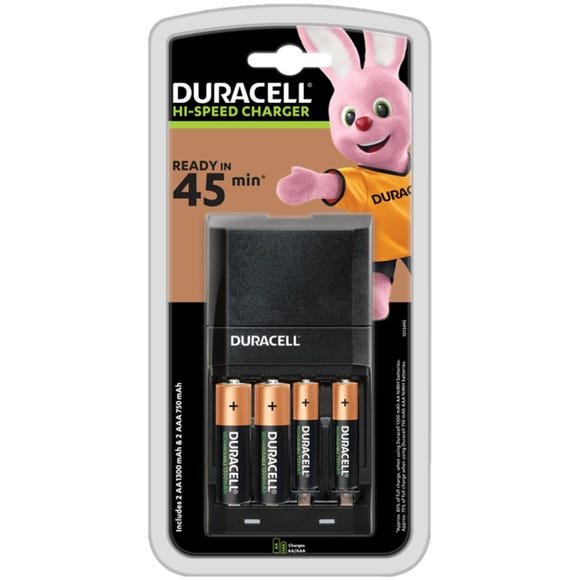 Duracell Charger & 2 AA Batteries Black undefined
