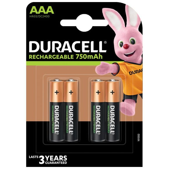 Duracell AAA Rechargeable 4 Pack Black undefined