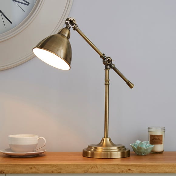 Lever Arm Antique Brass Desk Lamp Antique (Brass)