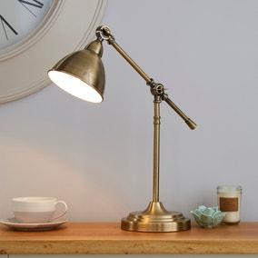 Lever Arm Antique Brass Desk Lamp