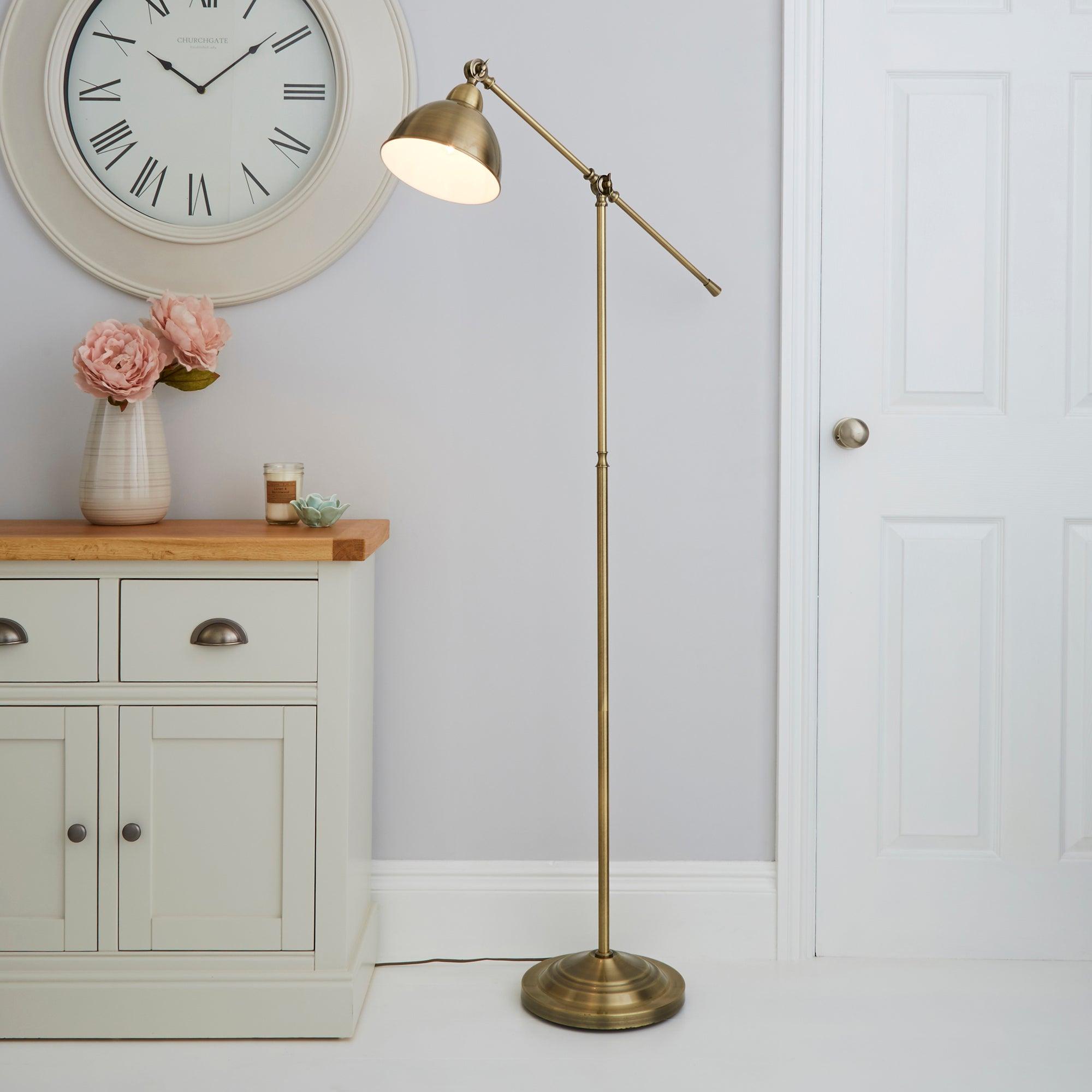 Lever Arm Antique Brass Floor Lamp Bronze