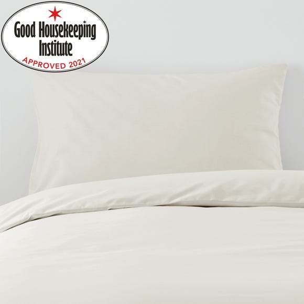 Non Iron Plain Dye Ivory Housewife Pillowcase Pair Ivory