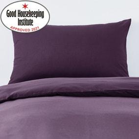 Non Iron Plain Dye Kingsize Blackcurrant Pillowcase Pair