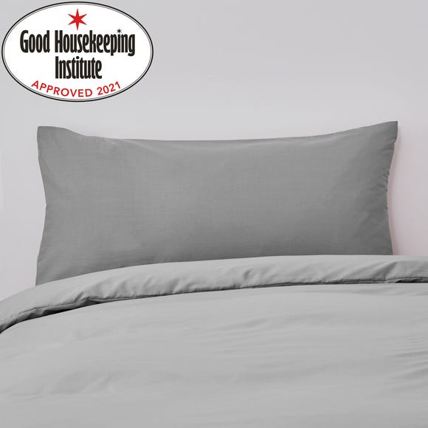 Non Iron Plain Dye Kingsize Slate Pillowcase Pair