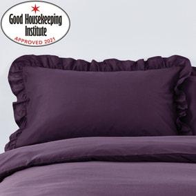 Non Iron Plain Dye Blackcurrant Frilled Pillowcase
