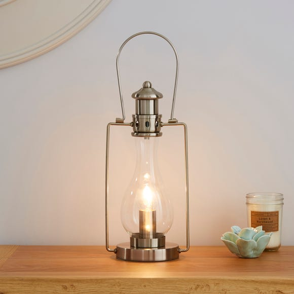 Horse Lantern Stain Nickel Table Lamp Satin Nickel