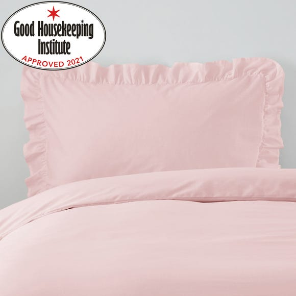 Non Iron Plain Dye Dusky Pink Frilled Pillowcase