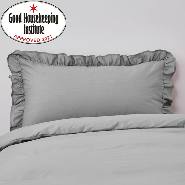 Non Iron Plain Dye Slate Frilled Pillowcase