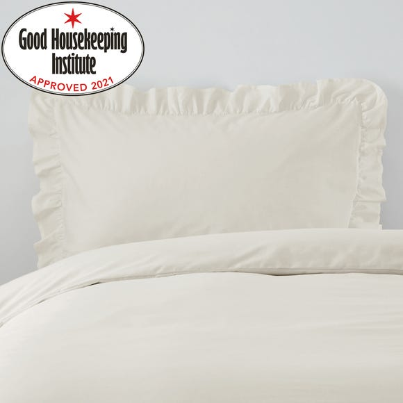 Non Iron Plain Dye Ivory Frilled Pillowcase Ivory