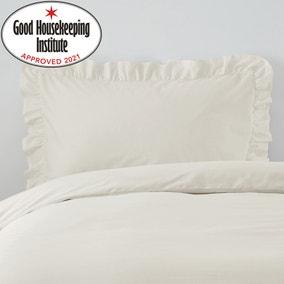 Non Iron Plain Dye Ivory Frilled Pillowcase