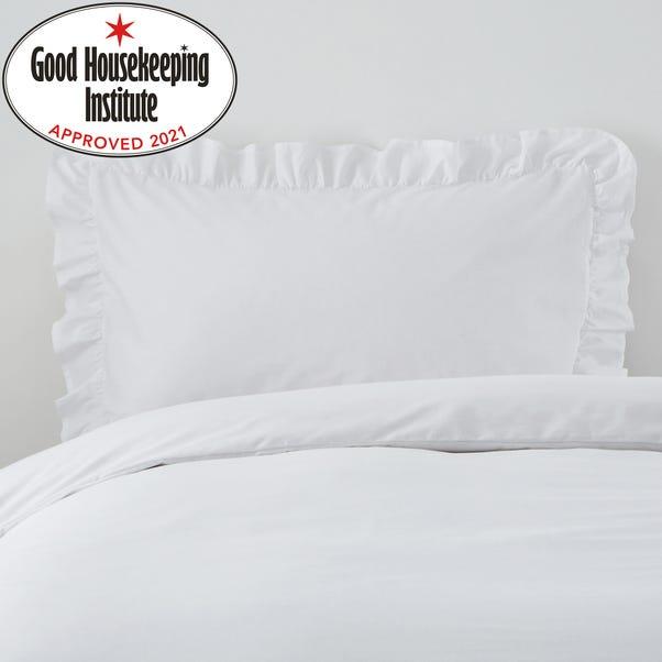 Non Iron Plain Dye White Frilled Pillowcase White