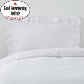 Non Iron Plain Dye White Frilled Pillowcase