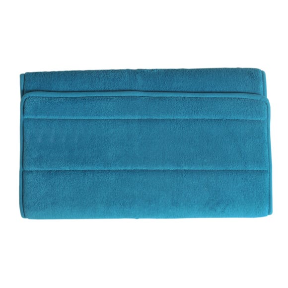 Memory Foam Teal Bath Mat Teal (Blue)