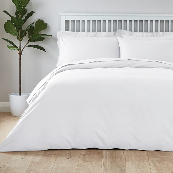 Easycare Plain Dye 100% Cotton White Duvet Cover  undefined