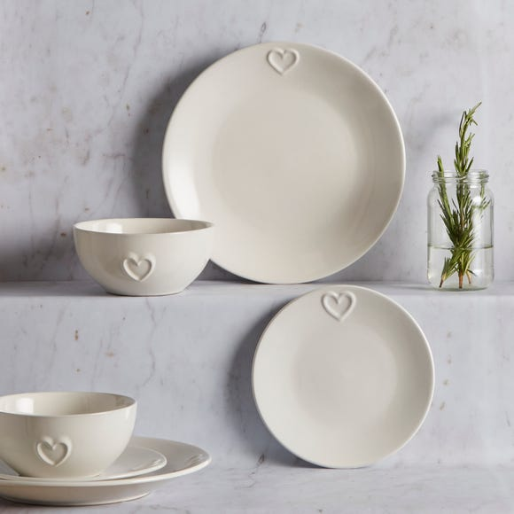 Country Heart 12 Piece Dinner Set White