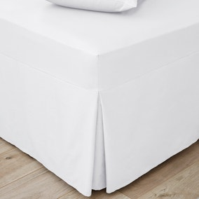 Easycare Plain Dye 100% Cotton 180 Thread Count White Pleated Fitted Valance