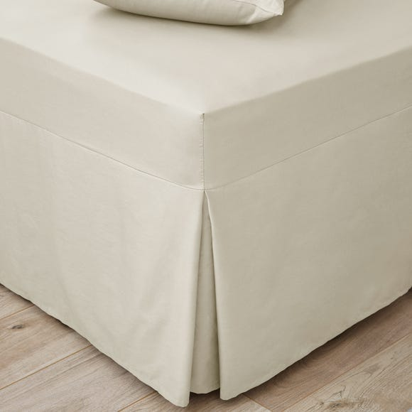 Easycare Plain Dye 100% Cotton 180 Thread Count Cream Pleated Fitted Valance  undefined