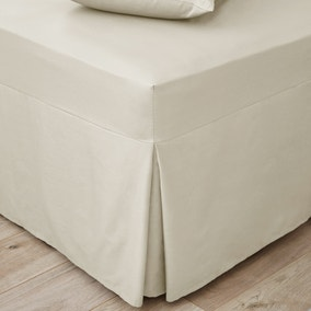 Easycare Plain Dye 100% Cotton 180 Thread Count Cream Pleated Fitted Valance