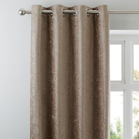 Chenille Taupe Eyelet Curtains