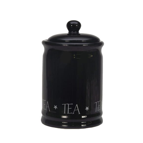 Vintage Black Text Tea Canister Black