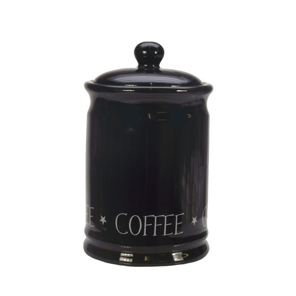 Vintage Black Text Coffee Canister Black