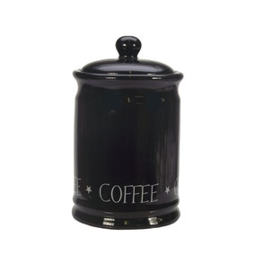 Vintage Black Text Coffee Canister