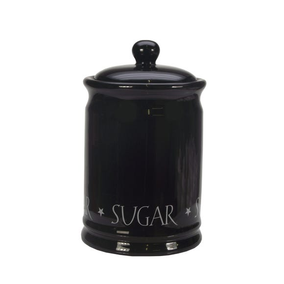 Vintage Black Text Sugar Canister Black