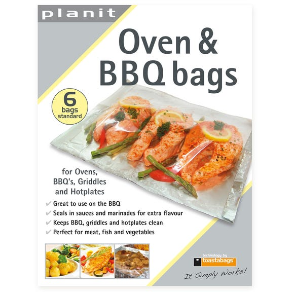 Pack of 6 Oven and BBQ Bags Silver
