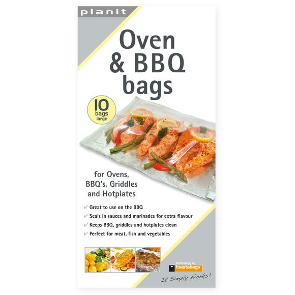 Pack of 10 Large Oven and BBQ Bags Silver