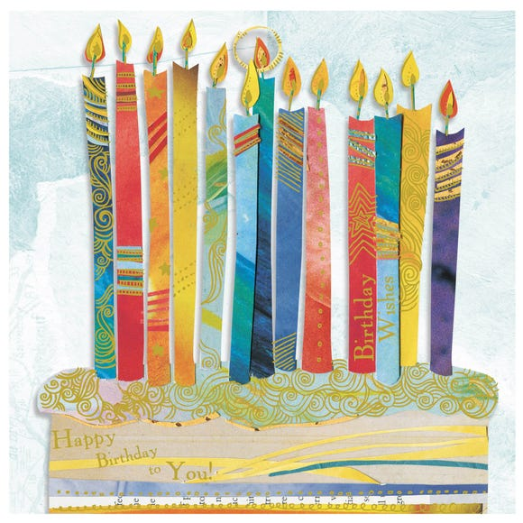 Candle on the Cake Birthday Card MultiColoured