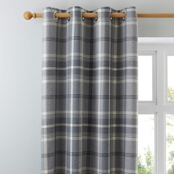 Highland Check Dove Grey Eyelet Curtains Grey undefined