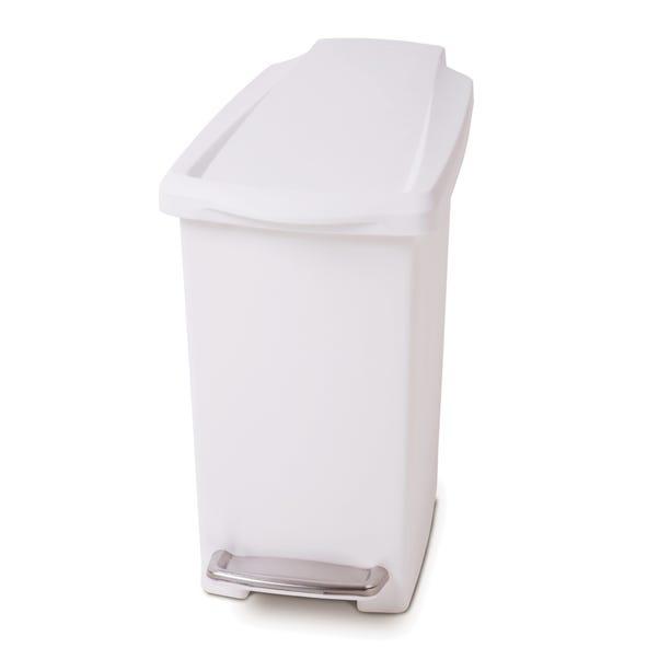simplehuman 10 Litre Slim Plastic White Pedal Bin