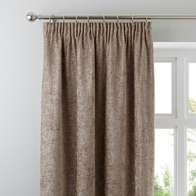 Chenille Taupe Pencil Pleat Curtains