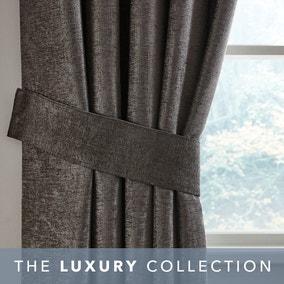 Grey Chenille Curtain Tiebacks