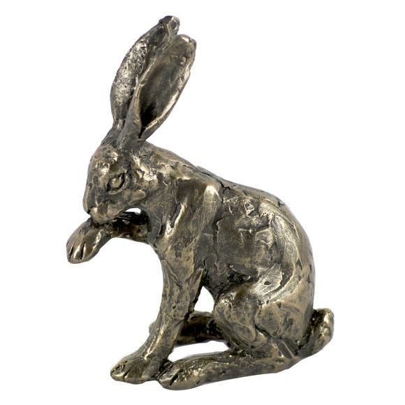 Hare Licking Paw Figurine Brown