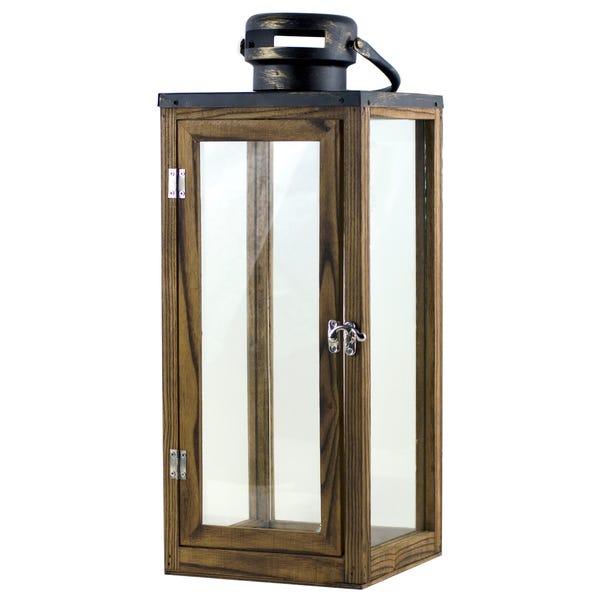 Rustic Ramble Wooden Lantern Brown
