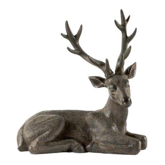 Rustic Ramble Sitting Stag Ornament Brown
