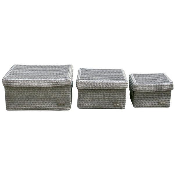 Set of 3 Lidded Baskets Silver (Grey)