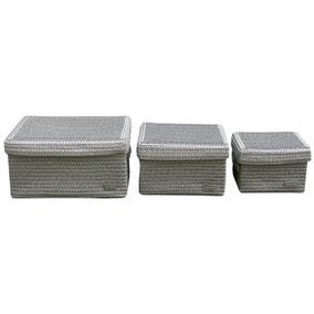 Set of 3 Lidded Baskets
