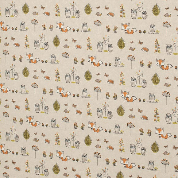 Woodland Fox Multicoloured Cotton Fabric MultiColoured