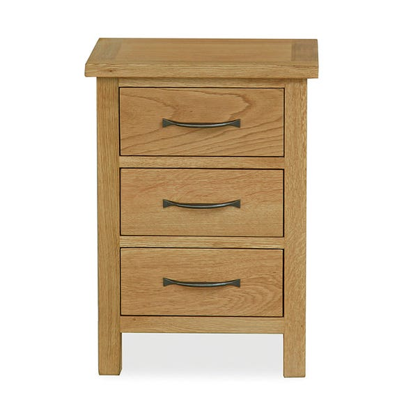 Sidmouth Oak 3 Drawer Bedside Table Oak (Brown)