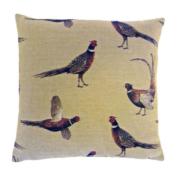 Pheasant Tapestry Cushion Natural (Beige)