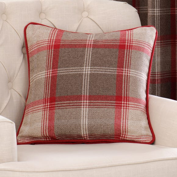 Highland Check Red Filled Cushion Red