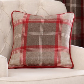 Highland Check Red Filled Cushion