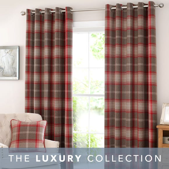 Highland Check Red Eyelet Curtains Red undefined