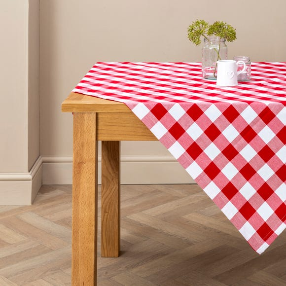 Red Gingham Check Tablecloth Red undefined