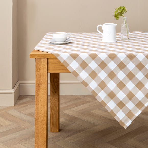Taupe Gingham Check Table Cloth Taupe (Brown) undefined