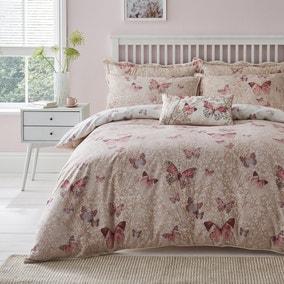 Botanica Butterfly Blush Reversible Duvet Cover and Pillowcase Set