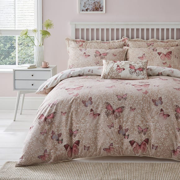 Botanica Butterfly Blush Reversible Duvet Cover and Pillowcase Set Blush (Pink) undefined